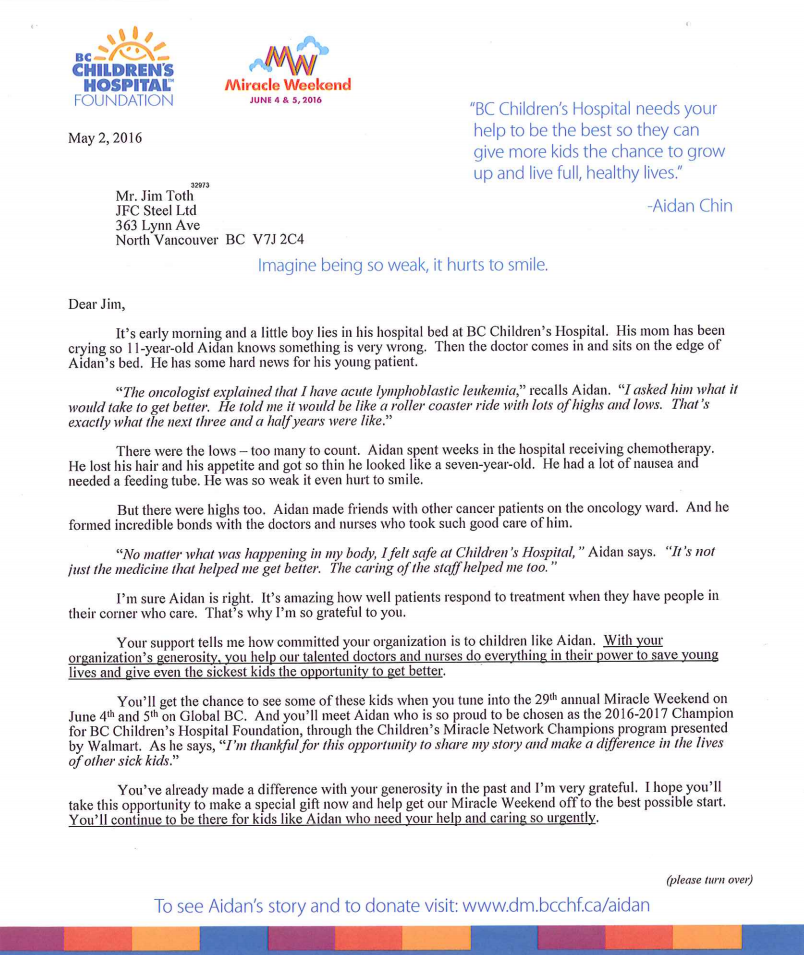 BC Children's Hospital Letter